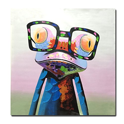 Raybre Art® 100% Pintados a mano Cuadros sobre Lienzo al óleo - Modernos Cuadros Abstracto Animales Rana con gafas - 50cm x 50cm Arte decoracion de paredes dormitorios Sin
