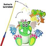 alles-meine.de GmbH 2 TLG. Set: Bastelset - Laterne / Lampion + LED Laternenstab -  lustiger Drache / Dinosaurier  - 30 cm - aus Papier - GROß - für Kinder Papierlaterne - zum ..