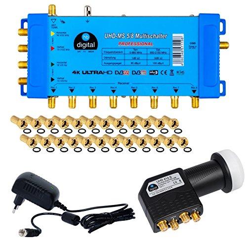 HB-Digital Quattro LNB Schwarz + Multischalter pmse 5/8 von HB-DIGITAL 1x Satellit und bis zu 8 x Unabhängige Teilnehmer / Receiver für Full HDTV 3D 4K UHD mit Netzteil + 24 Vergoldete F-Stecker