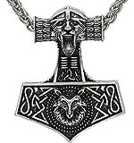 Wikinger Kopf Anhänger Halskette. Antikes Silber. Skandinavischer Odin Wolf Thor`s Hammer. Mjölnir Nordische keltische Nordic Talisman Saxon Knot
