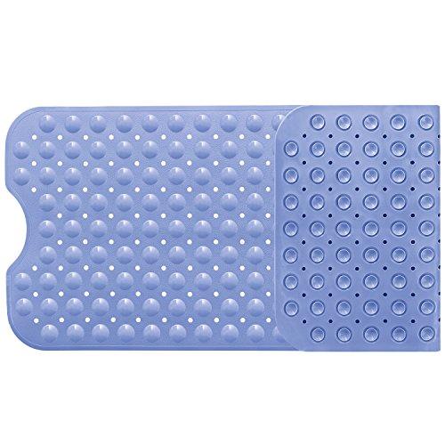 Norcho tappetino antiscivolo extra lunga di sicurezza da bagno extra lunga con suzione grip 100x40cm azzurro chiaro