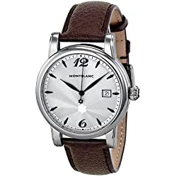 Montblanc Star Date Silver Dial Brown Leather Mens Watch 105894