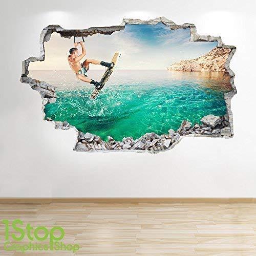 1Stop Graphics Shop Wakeboard Wandaufkleber 3D Optik - Jungen Kinder Schlafzimmer Extrem Sport Wand Abziehbilder Z110 - Large: 70 cm x 111 cm