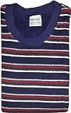 Herren Frottee Pyjama mit Rundhals, Gestreiftem Oberteil, Uni Hose, Marine, 60648, Gr. 24