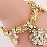 Schöne Uhren, Damen / Kinder Modeuhr / Armbanduhr / Armband-Uhr Quartz / Legierung BandVintage / Heart Shape / Böhmische / Bettelarmband / Armreif / ( Farbe : Gold , Großauswahl : Für Damen-Einheitsgröße )