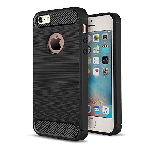 iPhone 5S Cover Silicone Slim Fibra di Carbonio Spazzolato, Custodia Morbida TPU Flessibile Gomma - MAXFE.CO Case Ultra Sottile Protezione Cover Protettiva per iphone 5/5S/SE - Nero