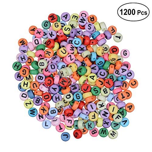 SUPVOX Acryl Alphabet Buchstaben Perlen Bunte Gravierte Herz Perlen für Schmuck Machen Armbänder Halskette Schlüsselanhänger und Kinder Schmuck 1200 STÜCKE