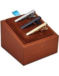 Set 3 Pcs Pasador de Corbatas Estrechas 4cm Pisacorbatas Skinny, Plateado, Dorado y Negro en Caja de Regalo