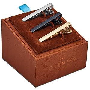 Puentes Denver 3-er Packung Dünn Skinny Krawattenklammer/Krawattennadel 4 cm Silber, Goldfarben, Schwarz Für Schmale Krawatte im Geschenketui, Geschenkset