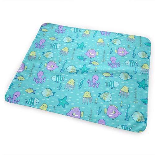 Voxpkrs Octopus Jellyfish Diaper Change Pad Tragbare und Faltbare Wickelunterlage 25,5 x 31,5 Zoll -