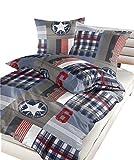 soma Renforce Bettwäsche 2 teilig Bettbezug 135 x 200 cm Kopfkissenbezug 80 x 80 cm Maddy Sterne blau weiß