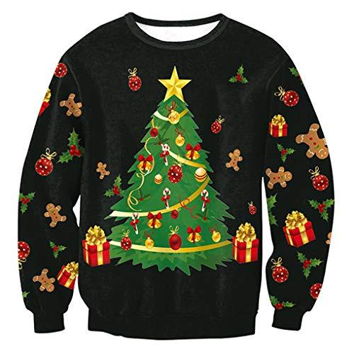Mengonee Invierno Flojo Redondo Cuello Camiseta de Santa Claus Top Impreso de Manga Larga Pullover