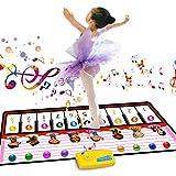 Tapis de Piano Musical Tapis de Danse avec 10 lumières clignotantes à LED Haut-parleur et fonction d'enregistrement cadeaux pour enfants Toddler Filles Garçons Noël