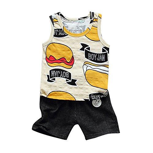 PLOT Baby Boys Sleeveless Hamburger Print Tops T-Shirt+Shorts 2Pcs Set 1-3 T