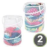 mDesign klappbarer Wäschekorb - praktischer Wäschebeutel aus atmungsaktivem Mesh-Gewebe - platzsparend zusammenklappbar - für nasse und trockene Kleidung - Wäschesack für Waschmaschine - weiß - 2er Set