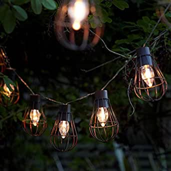 Auraglow Set of 10 Rustic Metal Solar String Bulb Lanterns Outdoor Garden Cage LED Lights - Warm ...