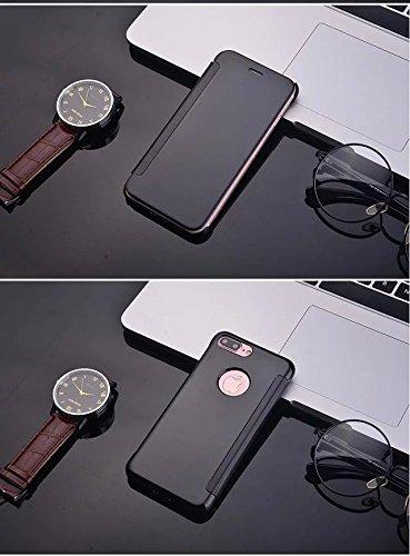 Meimeiwu Mirror Effect Flip Hülle Luxus Electroplate Spiegel Mirror Ultra Dünn Schutzhülle Bumper Case Cover für iPhone 7 Plus - Dunkel Blau Schwarz
