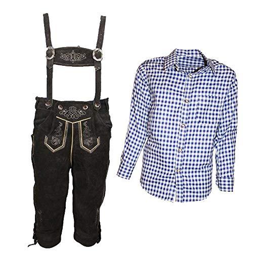 MS-Trachten Trachtenset Kinder Kniebund Lederhose Anton mit Hemd (Set blaukariert, 140)
