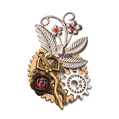 GRACEART Steampunk Gears Brooch