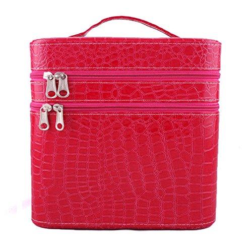 GBT Tragbare Hochleistungs-Doppelschicht-Kosmetiktasche Beauty Case plum red