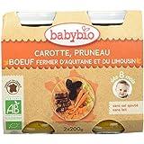 Babybio Pots Carotte Pruneau Bœuf Fermier d'Aquitaine/du Limousin 2x200 g - Lot de 3 soit un lot de 6 - Bio