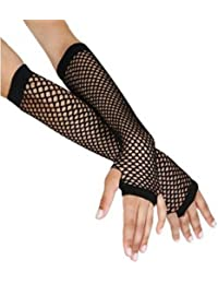 LONG FISHNET GLOVES 7 ASSORTED COLOURS PARTY FANCY DRESS TUTU (New Black)
