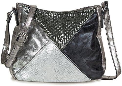Taschenloft Umhängetasche Schultertasche für Damen Stoff PU Kunstleder silber metallic (29 x 21,5 x 10 cm) (Geldbörse Handtasche Metallic Tasche)