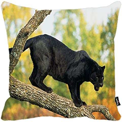 i FaMuRay Federa Cuscino, Panther Design Zippered Cushion, 18x18 inches