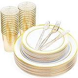 150 Set Vajilla de Plástico - 50 Elegante Platos Plástico Duro Desechables/Reutilizable con Borde Oro (25 Platos y 25 Platos Ensalada Postre), 25 Cucharilla, 25 Tenedores, 25 Cuchillos, 25 Vasos.