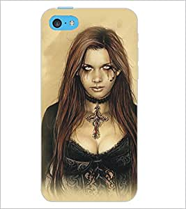 PrintDhaba Scary Girl D-5414 Back Case Cover for APPLE IPHONE 5C (Multi-Coloured)