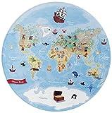 Böing Carpet GmbH Kinderteppich- 'Lovely Kids' Unsere Erde Weltkarte- Spielteppich, Kinderzimmer, Größe Teppiche:100 x 100 cm Rund
