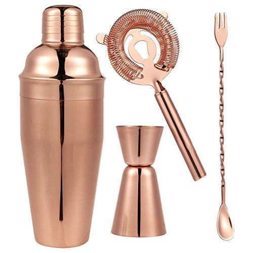 Juego de 4–Juego de boles (acero inoxidable bañado en cobre–Copa Shaker Set–incluye Bar cuchara, coctelera, vaso medidor (doble, hielo colador