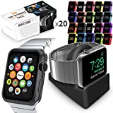 Orzly® ULTIMATE PACK für AppleWatch (38 mm) - Enthält Orzly Nightstand & Multi-Pack von 20 Assorted Orzly Face Plates in Einem Great Value Geschenkset