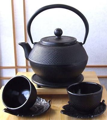 Gifts Of The Orient Tasses avec soucoupes en forme de feuille et théière avec repose-théière en fonte Style japonais Noir 1,2l