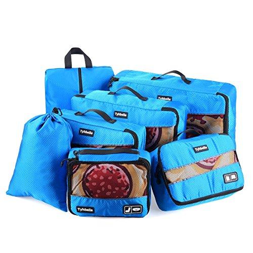 Tyhbelle Kleidertasche Packing Cubes Packwürfel 7-teiliges Set Ultra-leichte Gepäckverstauer Ideal für Reise, Seesäcke, Handgepäck und Rucksäcke (7-teiliges Set, Blau) (X-large-tasche)