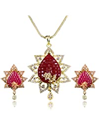 Limited Designer American Diamond Pendant Set With Chain & Earring