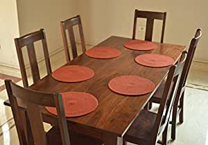 Natura Living Dining Table Kitchen Cotton Placemats 14 Inches Round, 1 Set,orange