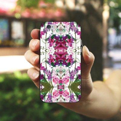 Apple iPhone 4 Housse Étui Silicone Coque Protection Fleurs Motif floral Fleurs Housse en silicone noir / blanc