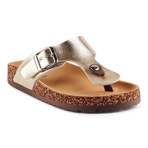 Fusskleidung Damen Riemchen Sandalen Zehentrenner Komfort Sandaletten Lack Schlappen Hausschuhe Pantoletten Schuhe Frankfurt-Gold EU 40 (Damen-gold-sandalen)