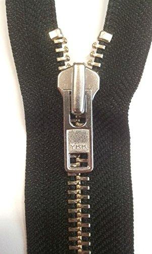 YKK Reißverschluss Metall teilbar 8mm *robust* Leder, Motorrad 75cm schwarz silber Verzahnung (Reißverschluss-motorrad)