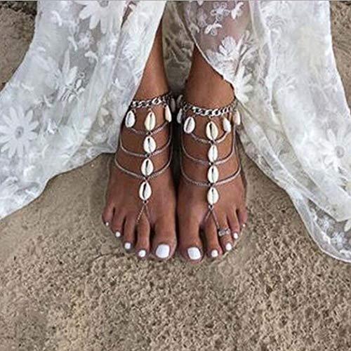 Yean Bohemian Sea Shell Fußkettchen mehrschichtige Knöchel Armband Conch Fuß Schmuck Kette für Frauen und Mädchen