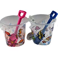 Set Of 2 Transparent Clear Sea Animals Design Bucket And Spade Beach Toys
