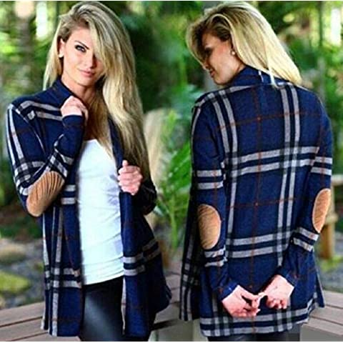 XJoel Loose Women Plaid Tartan Camicia a