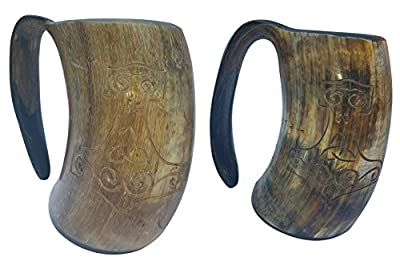 Pair of Hand Engraved Thor's XL Handmade 6 Inch Game of Thrones Style Drinking Horn Beer Tankard/ Mug 16 oz