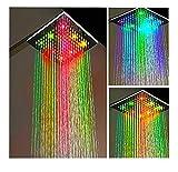 niboline Große LED Duschkopf Regendusche Eckig Regen-Brause Wellnessbrause Brausekopf Star-Line® 7 Farben Bunte Farbwechsel Regenbogen - Farbwechsel Geeignet für Zuhause und Hotel - Leuchtet Bunt