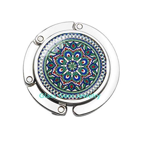 Buddhismus OM Symbol Indische Mandala Blume Schwarz Geldbörse Haken Zen Bild Glas Cabochon Taschenhaken Choker Glas Geldbörse Haken für Frauen Q0219 -
