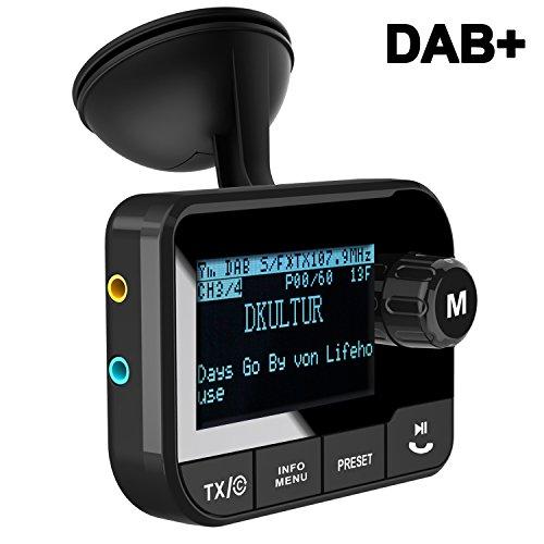 Blufree Auto DAB+ Digital Radio Adapter FM Transmitter, Bluetooth MP3 Musik Empfänger Freisprecheinrichtung, Tragbar Car DAB Radio Adaptor mit Crystal Sound/USB Auto Ladegerät/AUX/SD Card/LCD - Radio Best-fm Portable