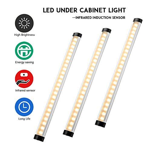 Lampwin [3er Set] LED Schrankleuchten Unterschrank Beleuchtung mit Bewegungsmelder, 3W Warmweiß 24 LEDs Kabinett Nachtlicht, Auto On/Off PIR Motion Sensing Licht für Schränke, Bücherregal, Schubfach (12-volt-motion)