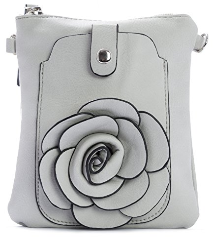 Big Handbag Shop - Borsa a tracolla donna Grigio (Grigio medio)