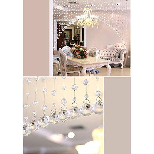 Ruimin Luxuriöser transparenter Glaskristall-Perlen-Vorhang, Fenster, Tür, Durchgang, Hochzeits-Hintergrund, Glas-Perlen-Tür, Faden-Quasten-Vorhang,  Raumteiler, Raumdekoration durchsichtig